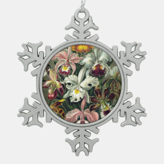 Orchid Botanical Print Snowflake Pewter Christmas Ornament
