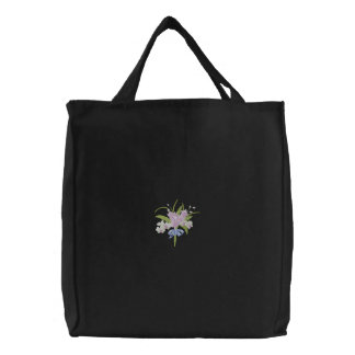 Orchid Bouquet Embroidered Tote Bag