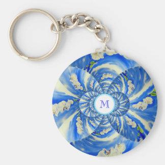 Orchid Breeze Mandala - monogram Keychain