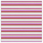 [ Thumbnail: Orchid, Brown, and White Lines/Stripes Pattern Fabric ]