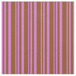 [ Thumbnail: Orchid & Brown Colored Lined Pattern Fabric ]