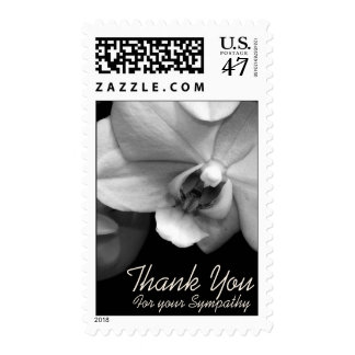 Orchid BW Sympathy Thank You Postage