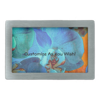 Orchid Cascade Bright Blue Blooms on Yellow Belt Buckle
