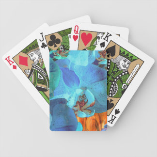Orchid Cascade Bright Blue Blooms on Yellow Bicycle Playing Cards