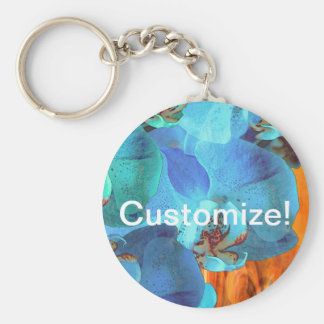 Orchid Cascade Bright Blue Blooms on Yellow Key Chain