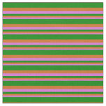 [ Thumbnail: Orchid, Chocolate, and Green Colored Stripes Fabric ]