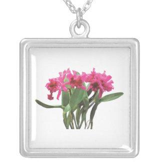 Orchid Chorus Line Square Pendant Necklace