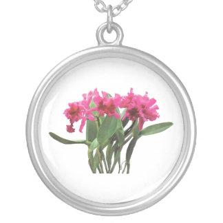 Orchid Chorus Line Round Pendant Necklace