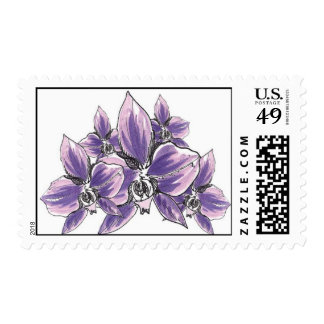 Orchid Cluster (Purple) Postage Stamp
