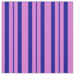 [ Thumbnail: Orchid & Dark Blue Colored Stripes Pattern Fabric ]
