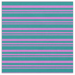 [ Thumbnail: Orchid & Dark Cyan Colored Pattern Fabric ]