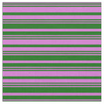 [ Thumbnail: Orchid & Dark Green Colored Lines Pattern Fabric ]