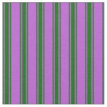 [ Thumbnail: Orchid & Dark Green Colored Striped/Lined Pattern Fabric ]