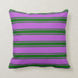 [ Thumbnail: Orchid & Dark Green Colored Striped/Lined Pattern Throw Pillow ]