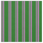 [ Thumbnail: Orchid & Dark Green Colored Stripes Fabric ]