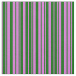 [ Thumbnail: Orchid & Dark Green Colored Stripes Pattern Fabric ]