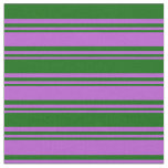 [ Thumbnail: Orchid & Dark Green Lined/Striped Pattern Fabric ]