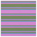 [ Thumbnail: Orchid, Dark Olive Green, and Blue Colored Lines Fabric ]