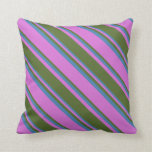 [ Thumbnail: Orchid, Dark Olive Green, and Blue Colored Lines Throw Pillow ]