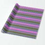 [ Thumbnail: Orchid, Dark Olive Green, and Blue Colored Lines Wrapping Paper ]
