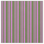 [ Thumbnail: Orchid & Dark Olive Green Colored Stripes Pattern Fabric ]