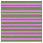 [ Thumbnail: Orchid & Dark Olive Green Pattern of Stripes Fabric ]