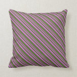 [ Thumbnail: Orchid & Dark Olive Green Pattern of Stripes Throw Pillow ]