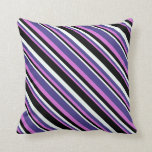 [ Thumbnail: Orchid, Dark Slate Blue, Mint Cream & Black Lines Throw Pillow ]