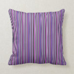 [ Thumbnail: Orchid, Dark Slate Blue, White, and Black Pattern Throw Pillow ]