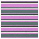 [ Thumbnail: Orchid, Dark Slate Gray, Black & White Stripes Fabric ]