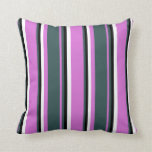 [ Thumbnail: Orchid, Dark Slate Gray, Black & White Stripes Throw Pillow ]