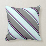 [ Thumbnail: Orchid, Dark Slate Gray, Light Cyan, Grey & Black Throw Pillow ]