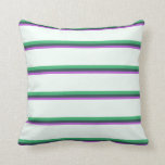 [ Thumbnail: Orchid, Dark Slate Gray, Sea Green & Mint Cream Throw Pillow ]