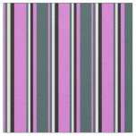 [ Thumbnail: Orchid, Dark Slate Gray, White & Black Colored Fabric ]