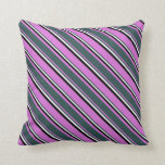 [ Thumbnail: Orchid, Dark Slate Gray, White & Black Colored Throw Pillow ]