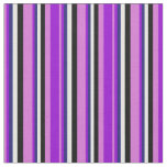 [ Thumbnail: Orchid, Dark Violet, Midnight Blue, White & Black Fabric ]