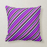 [ Thumbnail: Orchid, Dark Violet, Midnight Blue, White & Black Throw Pillow ]