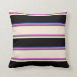 [ Thumbnail: Orchid, Dim Gray, Beige, Black & Midnight Blue Throw Pillow ]