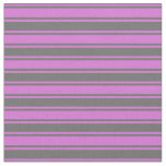 [ Thumbnail: Orchid & Dim Gray Colored Lines/Stripes Pattern Fabric ]