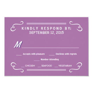 "Orchid Eat Drink & RSVP Rustic Wedding Reply 3.5"" X 5"" Invitation Card"