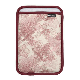 Orchid Engraving Pattern On Beige Background Sleeve For iPad Mini