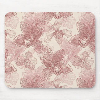 Orchid Engraving Pattern On Beige Background Mouse Pad