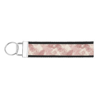 Orchid Engraving Pattern On Beige Background Wrist Keychain