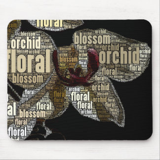 Orchid Floral Blossom Black Back Word Cloud Mouse Pad