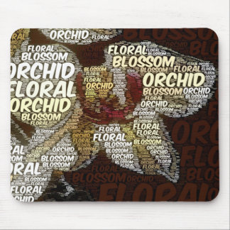 Orchid Floral Blossom Burgundy Back Word Cloud Mouse Pad