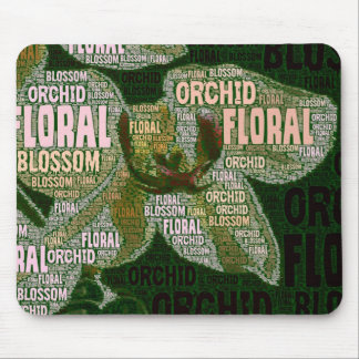 Orchid Floral Blossom Green Back Word Cloud Mouse Pad