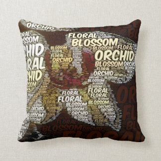 Orchid Floral Blossom Over Burgundy Word Cloud Throw Pillow