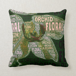 Orchid Floral Blossom Over Green Word Cloud Throw Pillow