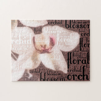 Orchid Floral Blossom Word Cloud Jigsaw Puzzle