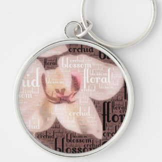 Orchid Floral Blossom Word Cloud Keychain